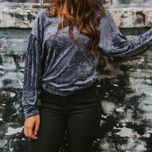 Free People Navy Velvet Shirt